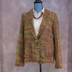 NEW Selene Gold & Red Tweed Blazer w/ Fringe L